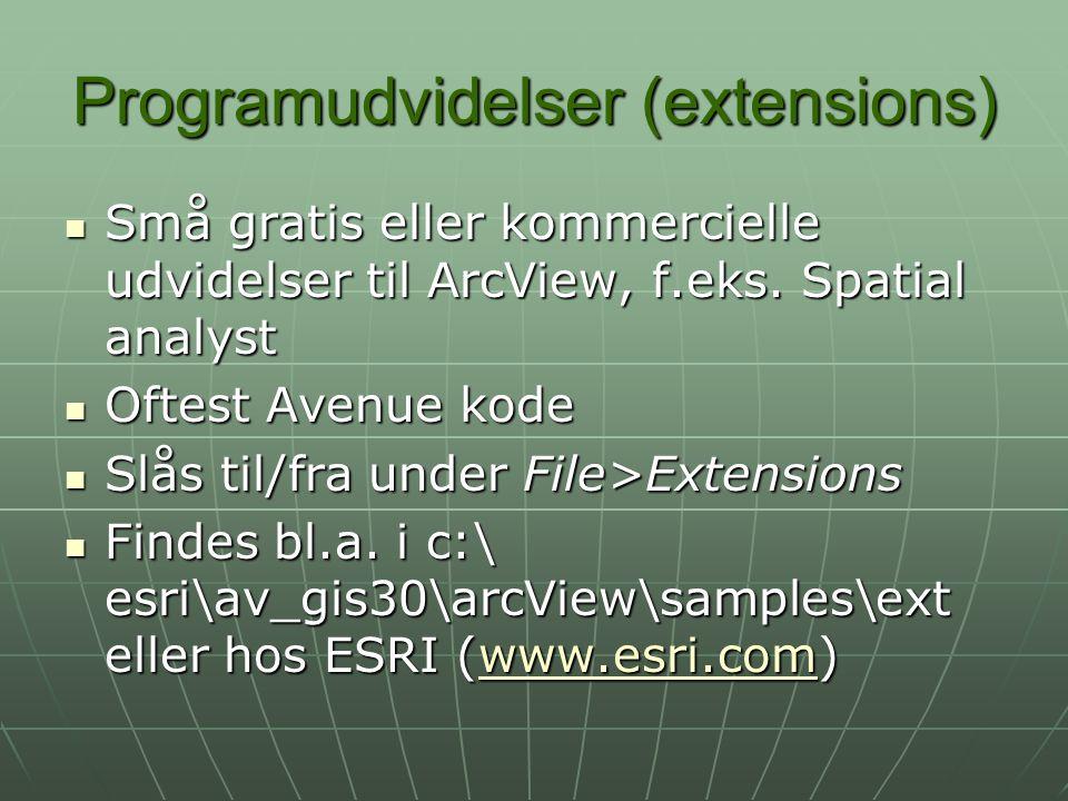 Programudvidelser (extensions) Små gratis eller kommercielle udvidelser til ArcView, f.eks.