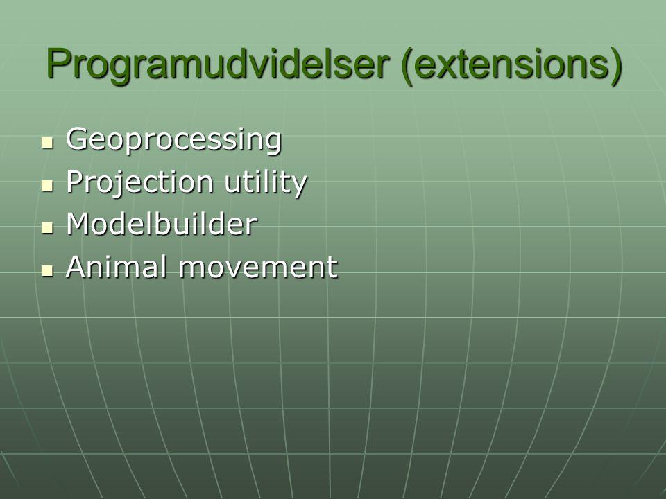 Programudvidelser (extensions) Geoprocessing Geoprocessing Projection utility Projection utility Modelbuilder Modelbuilder Animal movement Animal movement
