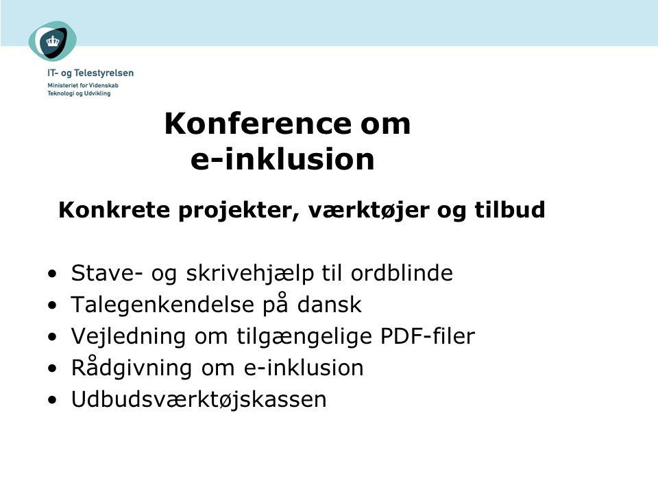 Konference om e-inklusion Konkrete projekter, værktøjer og tilbud Stave- og skrivehjælp til ordblinde Talegenkendelse på dansk Vejledning om tilgængelige PDF-filer Rådgivning om e-inklusion Udbudsværktøjskassen
