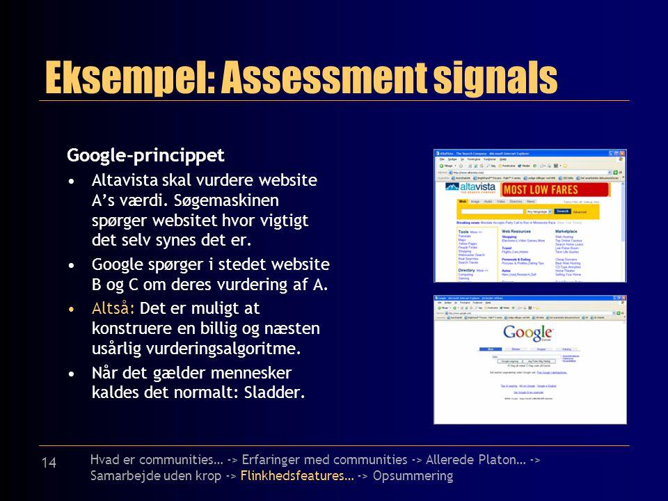 14 Eksempel: Assessment signals Google-princippet Altavista skal vurdere website A's værdi.