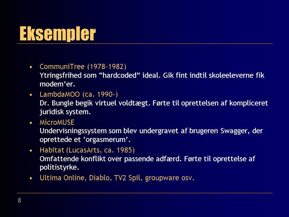 8 Eksempler CommuniTree (1978-1982) Ytringsfrihed som hardcoded ideal.