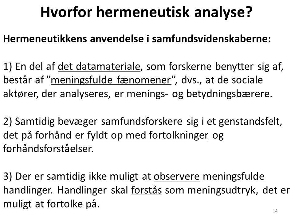 14 Hvorfor hermeneutisk analyse? Hermeneutikkens anvendelse i samfundsvidenskaberne: 1) En del af det datamateriale, som forskerne benytter sig af, be