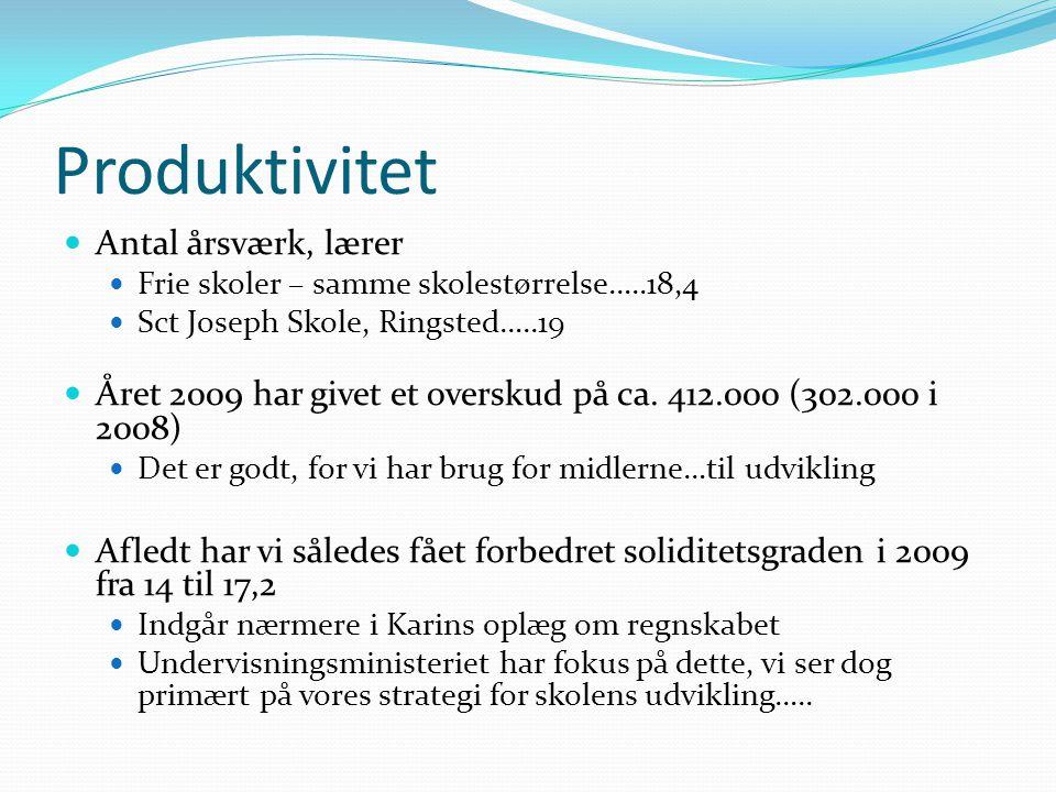 Produktivitet Antal årsværk, lærer Frie skoler – samme skolestørrelse…..18,4 Sct Joseph Skole, Ringsted…..19 Året 2009 har givet et overskud på ca.