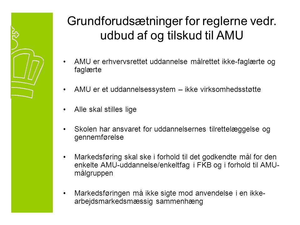 AMU er erhvervsrettet uddannelse målrettet ikke-faglærte og faglærte AMU er et uddannelsessystem – ikke virksomhedsstøtte Alle skal stilles lige Skolen har ansvaret for uddannelsernes tilrettelæggelse og gennemførelse Markedsføring skal ske i forhold til det godkendte mål for den enkelte AMU-uddannelse/enkeltfag i FKB og i forhold til AMU- målgruppen Markedsføringen må ikke sigte mod anvendelse i en ikke- arbejdsmarkedsmæssig sammenhæng Grundforudsætninger for reglerne vedr.