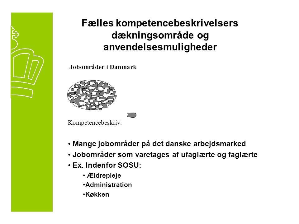 Fælles kompetencebeskrivelsers dækningsområde og anvendelsesmuligheder Jobområder i Danmark Kompetencebeskriv.