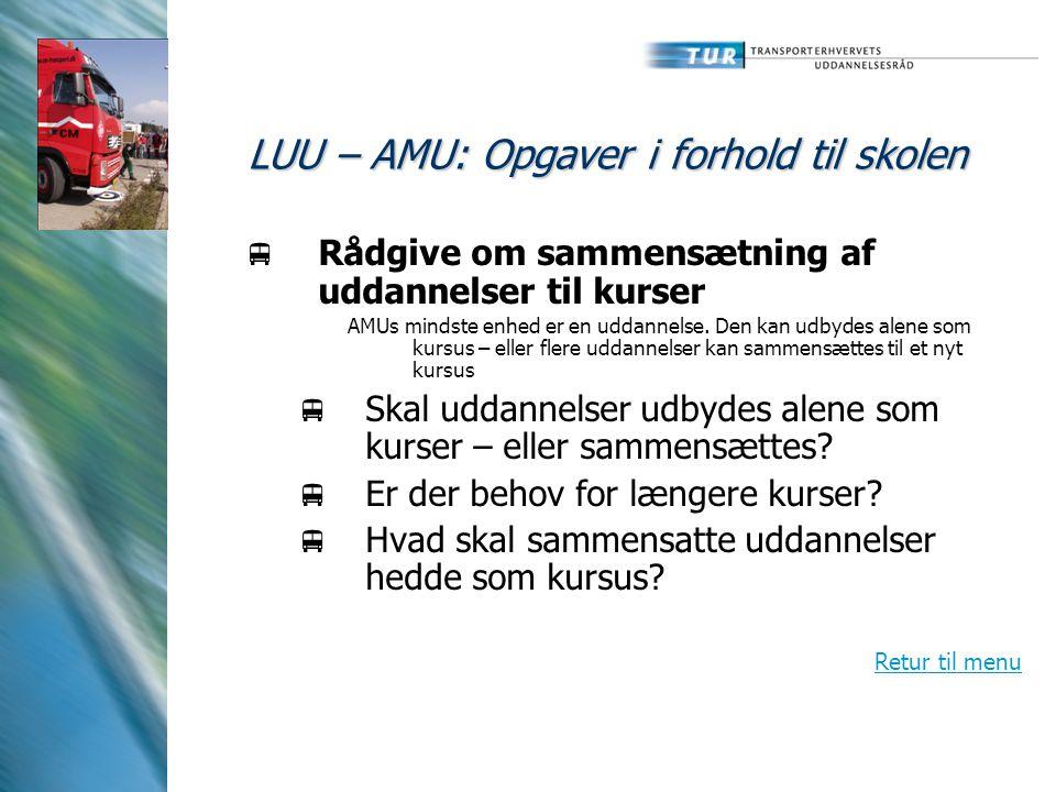 LUU – AMU: Opgaver i forhold til skolen  Rådgive om sammensætning af uddannelser til kurser AMUs mindste enhed er en uddannelse.