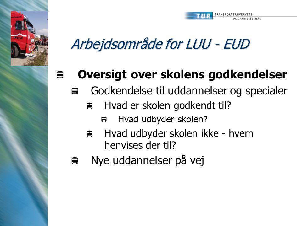 Arbejdsområde for LUU - EUD  Oversigt over skolens godkendelser  Godkendelse til uddannelser og specialer  Hvad er skolen godkendt til.
