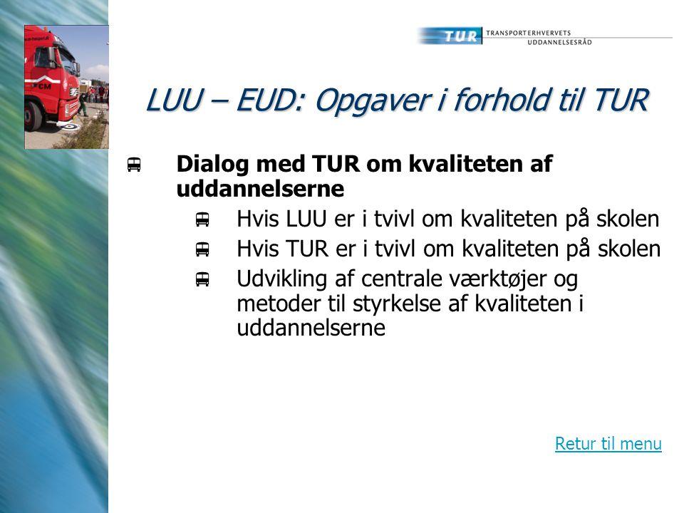 LUU – EUD: Opgaver i forhold til TUR  Dialog med TUR om kvaliteten af uddannelserne  Hvis LUU er i tvivl om kvaliteten på skolen  Hvis TUR er i tvivl om kvaliteten på skolen  Udvikling af centrale værktøjer og metoder til styrkelse af kvaliteten i uddannelserne Retur til menu
