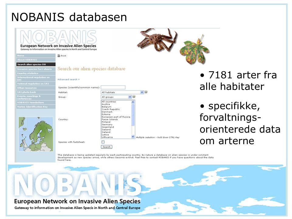 NOBANIS databasen 7181 arter fra alle habitater specifikke, forvaltnings- orienterede data om arterne
