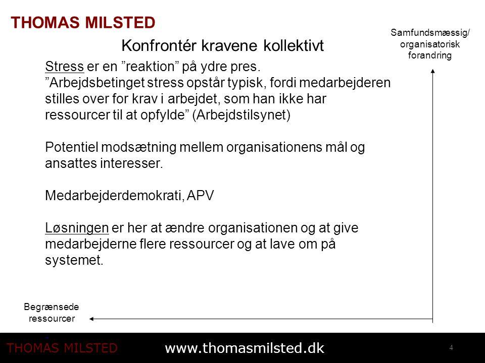 www.thomasmilsted.dk THOMAS MILSTED 4 Samfundsmæssig/ organisatorisk forandring Begrænsede ressourcer Konfrontér kravene kollektivt Stress er en reaktion på ydre pres.