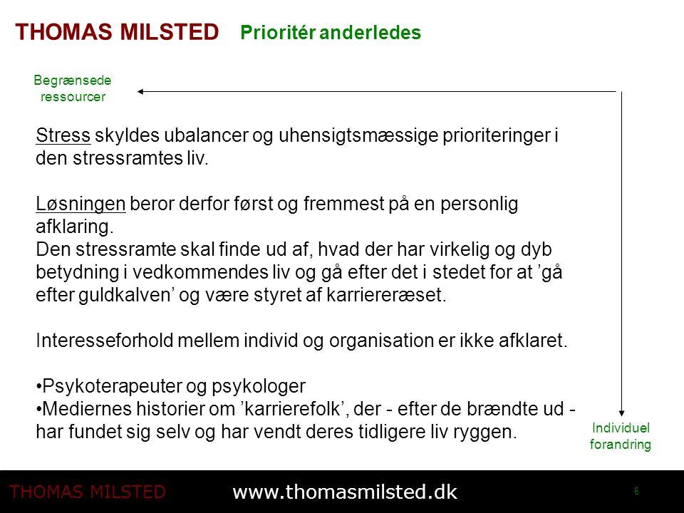www.thomasmilsted.dk THOMAS MILSTED 6 Individuel forandring Begrænsede ressourcer Prioritér anderledes Stress skyldes ubalancer og uhensigtsmæssige prioriteringer i den stressramtes liv.