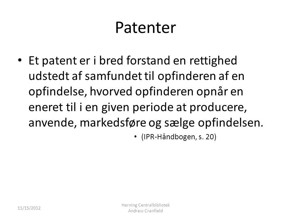 Patenter Et patent er i bred forstand en rettighed udstedt af samfundet til opfinderen af en opfindelse, hvorved opfinderen opnår en eneret til i en given periode at producere, anvende, markedsføre og sælge opfindelsen.