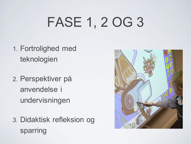FASE 1, 2 OG 3 1. Fortrolighed med teknologien 2.