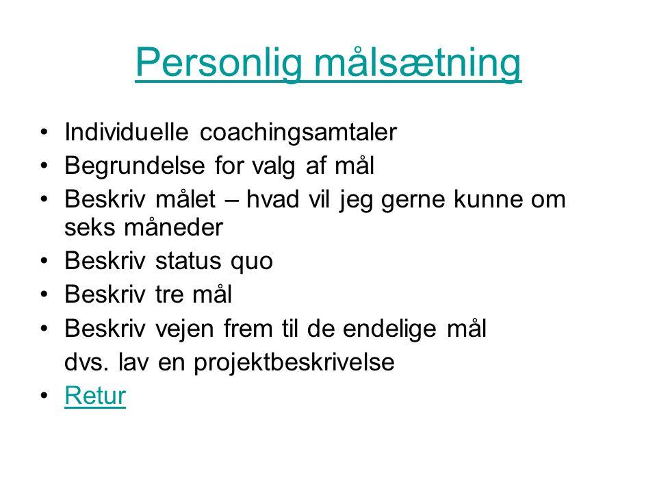 Personlig målsætning Individuelle coachingsamtaler Begrundelse for valg af mål Beskriv målet – hvad vil jeg gerne kunne om seks måneder Beskriv status quo Beskriv tre mål Beskriv vejen frem til de endelige mål dvs.