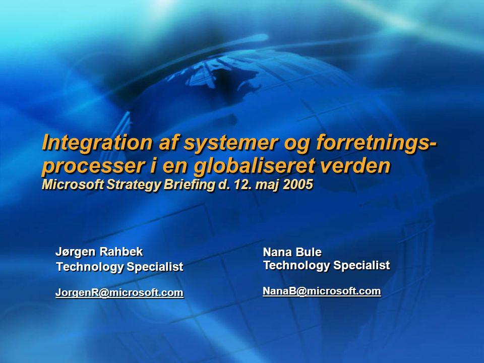 Integration af systemer og forretnings- processer i en globaliseret verden Microsoft Strategy Briefing d.