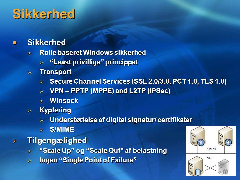 Sikkerhed Sikkerhed Sikkerhed  Rolle baseret Windows sikkerhed  Least privillige princippet  Transport  Secure Channel Services (SSL 2.0/3.0, PCT 1.0, TLS 1.0)  VPN – PPTP (MPPE) and L2TP (IPSec)  Winsock  Kyptering  Understøttelse af digital signatur/ certifikater  S/MIME  Tilgengælighed  Scale Up og Scale Out af belastning  Ingen Single Point of Failure