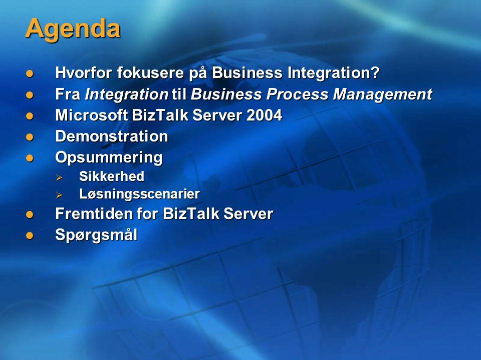 Agenda Hvorfor fokusere på Business Integration. Hvorfor fokusere på Business Integration.