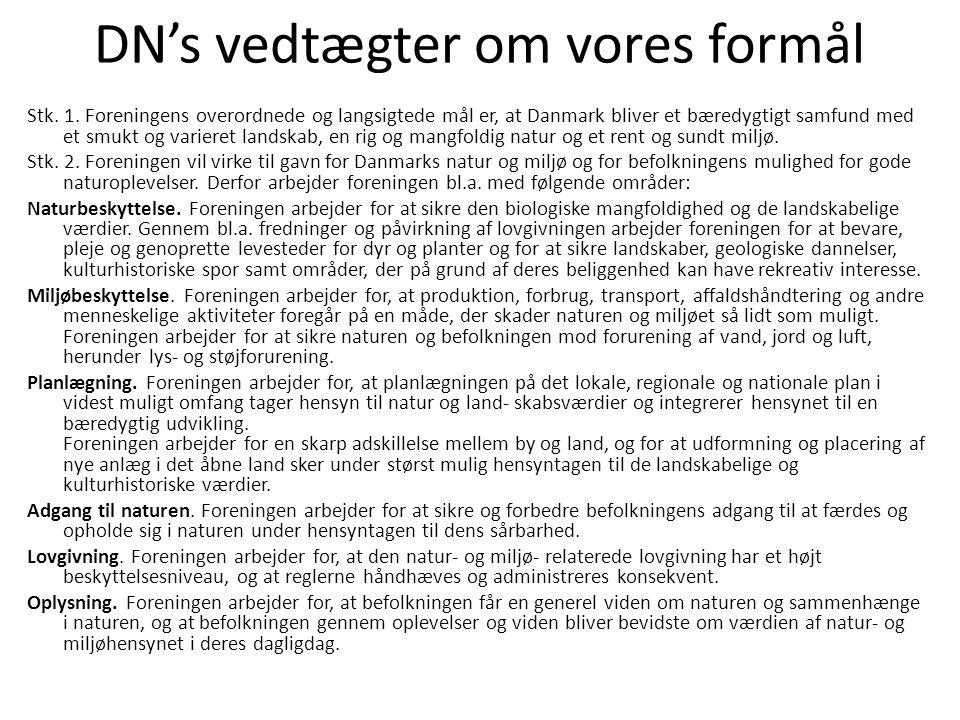 DN's vedtægter om vores formål Stk. 1.