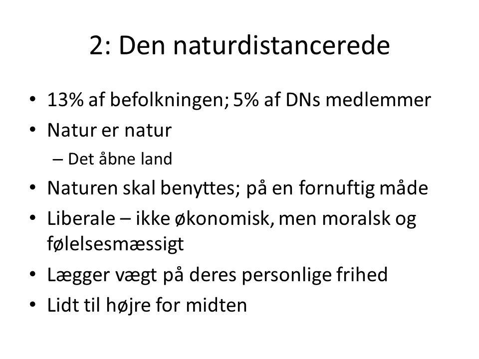 2: Den naturdistancerede 13% af befolkningen; 5% af DNs medlemmer Natur er natur – Det åbne land Naturen skal benyttes; på en fornuftig måde Liberale – ikke økonomisk, men moralsk og følelsesmæssigt Lægger vægt på deres personlige frihed Lidt til højre for midten