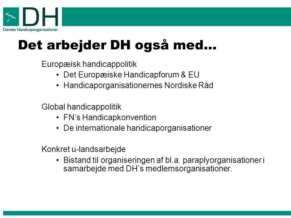 Det arbejder DH også med… Europæisk handicappolitik Det Europæiske Handicapforum & EU Handicaporganisationernes Nordiske Råd Global handicappolitik FN's Handicapkonvention De internationale handicaporganisationer Konkret u-landsarbejde Bistand til organiseringen af bl.a.