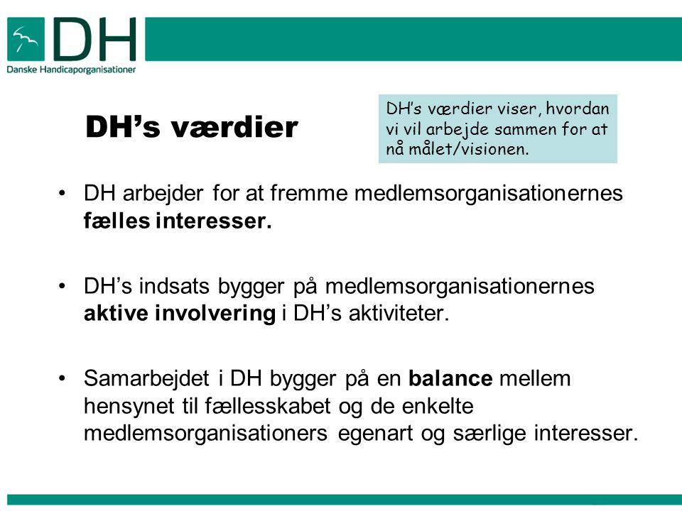 DH's værdier DH arbejder for at fremme medlemsorganisationernes fælles interesser.