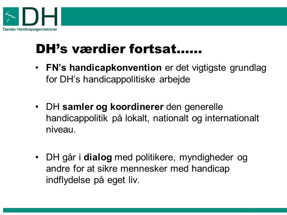 DH's værdier fortsat…… FN's handicapkonvention er det vigtigste grundlag for DH's handicappolitiske arbejde DH samler og koordinerer den generelle handicappolitik på lokalt, nationalt og internationalt niveau.