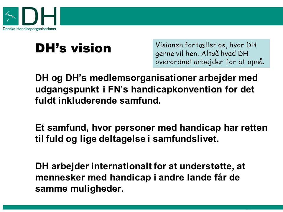 DH's vision DH og DH's medlemsorganisationer arbejder med udgangspunkt i FN's handicapkonvention for det fuldt inkluderende samfund.