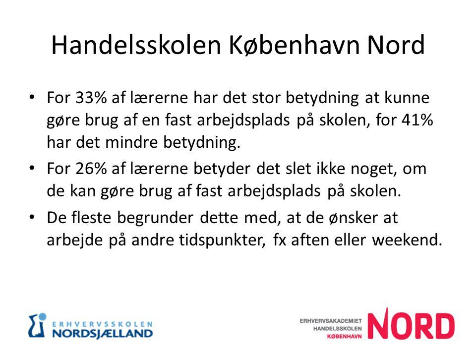 Handelsskolen København Nord For 33% af lærerne har det stor betydning at kunne gøre brug af en fast arbejdsplads på skolen, for 41% har det mindre betydning.