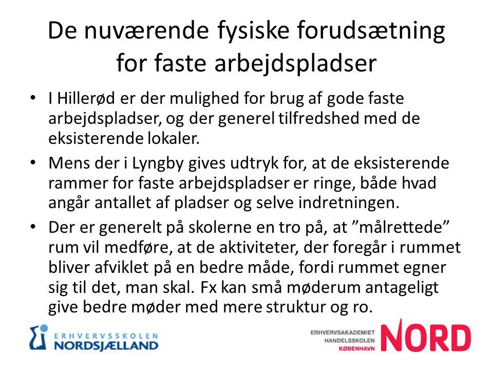 De nuværende fysiske forudsætning for faste arbejdspladser I Hillerød er der mulighed for brug af gode faste arbejdspladser, og der generel tilfredshed med de eksisterende lokaler.