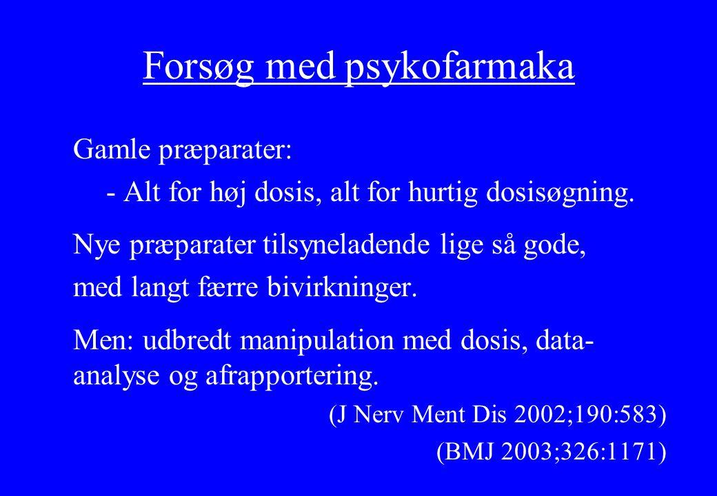 Forsøg med psykofarmaka Gamle præparater: - Alt for høj dosis, alt for hurtig dosisøgning.