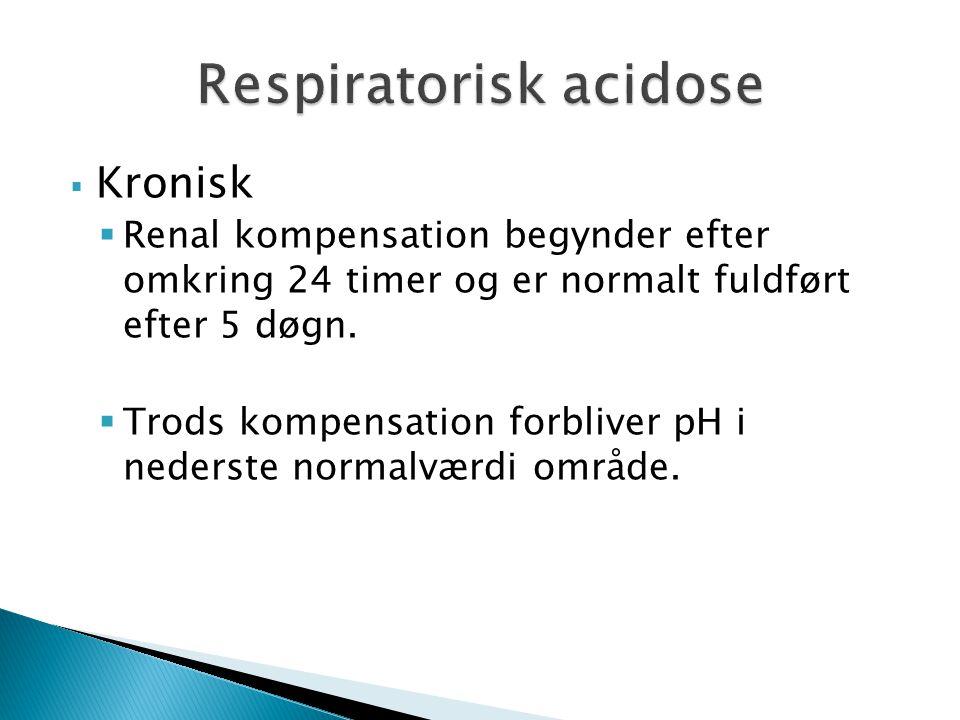  Kronisk  Renal kompensation begynder efter omkring 24 timer og er normalt fuldført efter 5 døgn.  Trods kompensation forbliver pH i nederste norma
