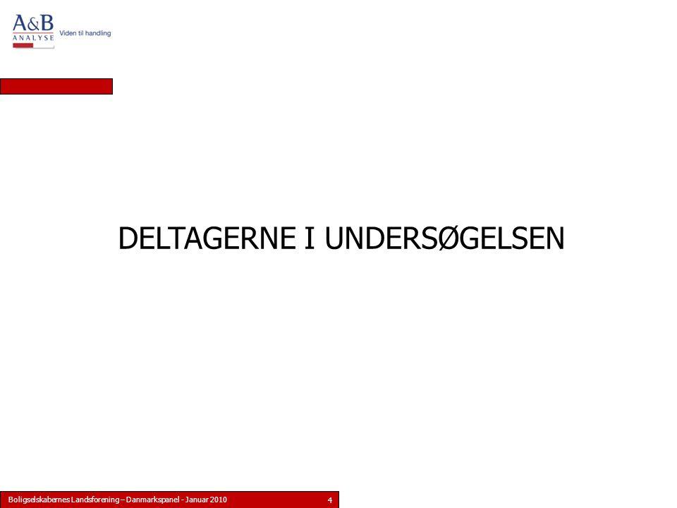 Boligselskabernes Landsforening – Danmarkspanel - Januar 2010 4 DELTAGERNE I UNDERSØGELSEN