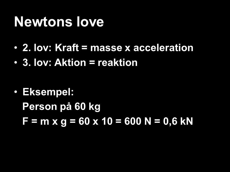 Newtons love 2. lov: Kraft = masse x acceleration 3. lov: Aktion = reaktion Eksempel: Person på 60 kg F = m x g = 60 x 10 = 600 N = 0,6 kN