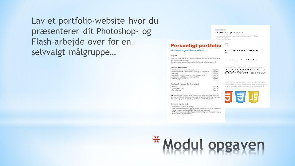 Lav et portfolio-website hvor du præsenterer dit Photoshop- og Flash-arbejde over for en selvvalgt målgruppe…