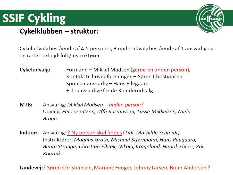 Cykelklubben – struktur: Cykeludvalg bestående af 4-5 personer, 3 underudvalg bestående af 1 ansvarlig og en række arbejdsfolk/instruktører.