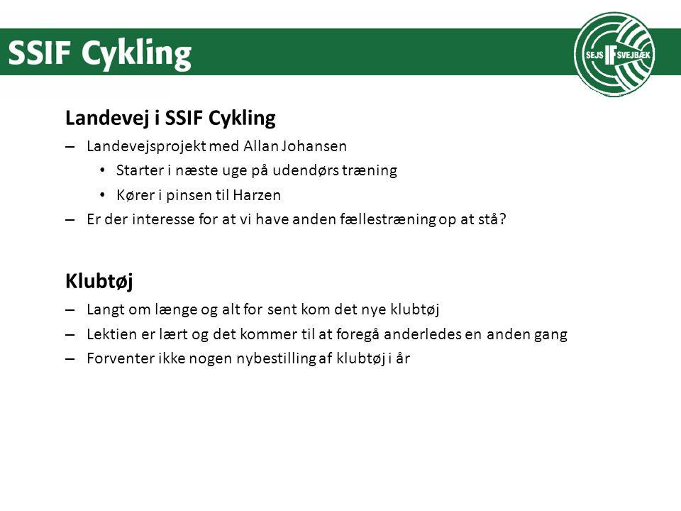 Landevej i SSIF Cykling – Landevejsprojekt med Allan Johansen Starter i næste uge på udendørs træning Kører i pinsen til Harzen – Er der interesse for at vi have anden fællestræning op at stå.