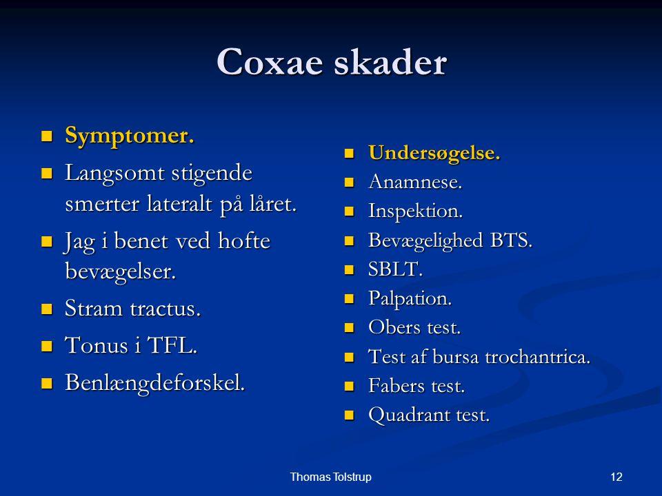 12Thomas Tolstrup Coxae skader Symptomer. Symptomer. Langsomt stigende smerter lateralt på låret. Langsomt stigende smerter lateralt på låret. Jag i b