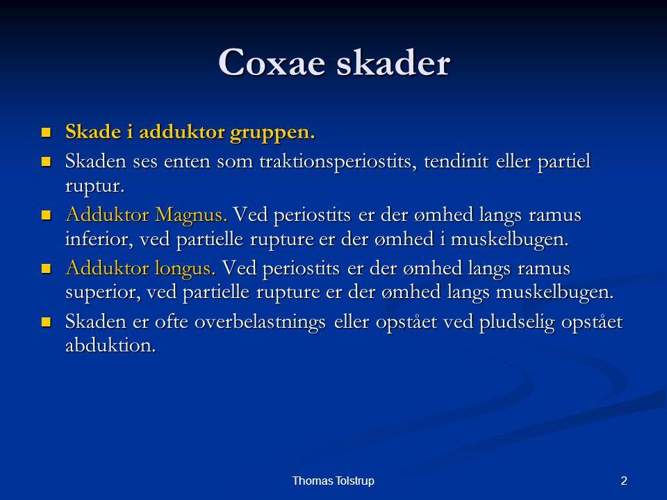 2Thomas Tolstrup Coxae skader Skade i adduktor gruppen. Skade i adduktor gruppen. Skaden ses enten som traktionsperiostits, tendinit eller partiel rup