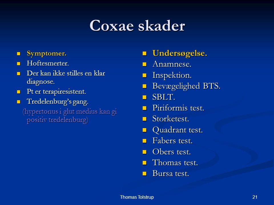 21Thomas Tolstrup Coxae skader Symptomer. Symptomer. Hoftesmerter. Hoftesmerter. Der kan ikke stilles en klar diagnose. Der kan ikke stilles en klar d