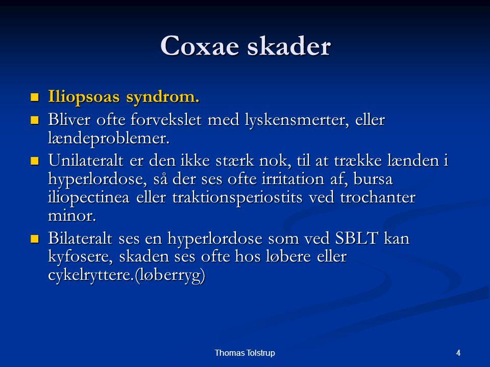 4Thomas Tolstrup Coxae skader Iliopsoas syndrom. Iliopsoas syndrom. Bliver ofte forvekslet med lyskensmerter, eller lændeproblemer. Bliver ofte forvek
