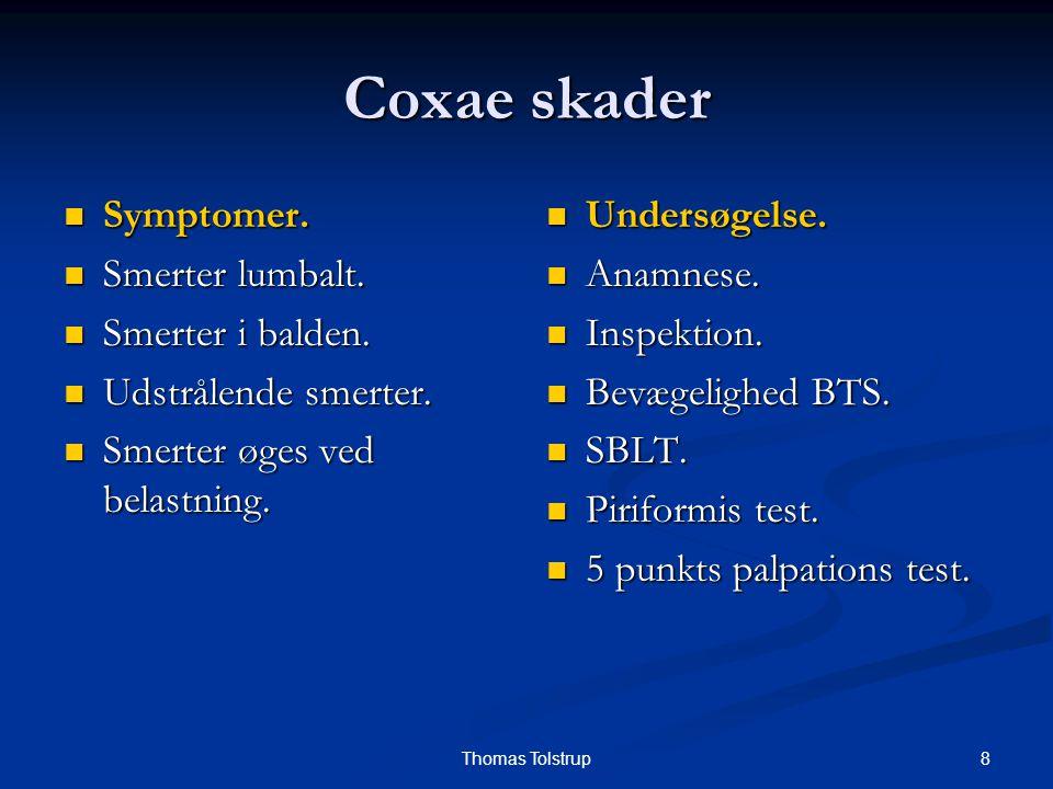 8Thomas Tolstrup Coxae skader Symptomer. Symptomer. Smerter lumbalt. Smerter lumbalt. Smerter i balden. Smerter i balden. Udstrålende smerter. Udstrål