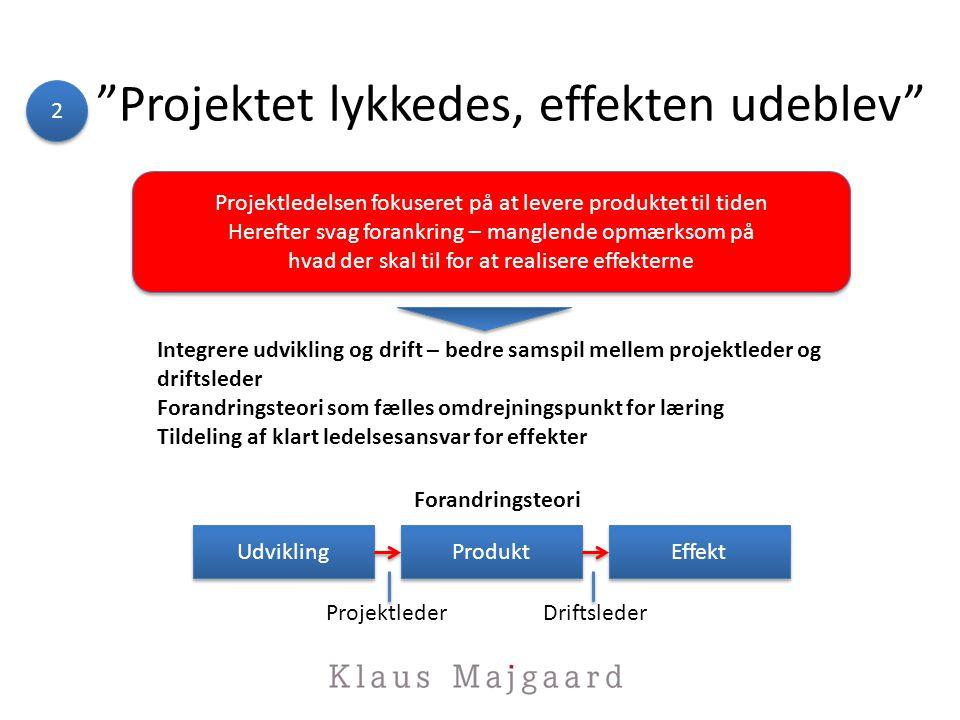 Projektet lykkedes, effekten udeblev 2 2 Projektledelsen fokuseret på at levere produktet til tiden Herefter svag forankring – manglende opmærksom på hvad der skal til for at realisere effekterne Projektledelsen fokuseret på at levere produktet til tiden Herefter svag forankring – manglende opmærksom på hvad der skal til for at realisere effekterne Integrere udvikling og drift – bedre samspil mellem projektleder og driftsleder Forandringsteori som fælles omdrejningspunkt for læring Tildeling af klart ledelsesansvar for effekter Udvikling Produkt Effekt Forandringsteori ProjektlederDriftsleder
