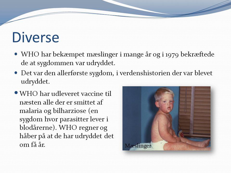 Diverse WHO har bekæmpet mæslinger i mange år og i 1979 bekræftede de at sygdommen var udryddet. Det var den allerførste sygdom, i verdenshistorien de