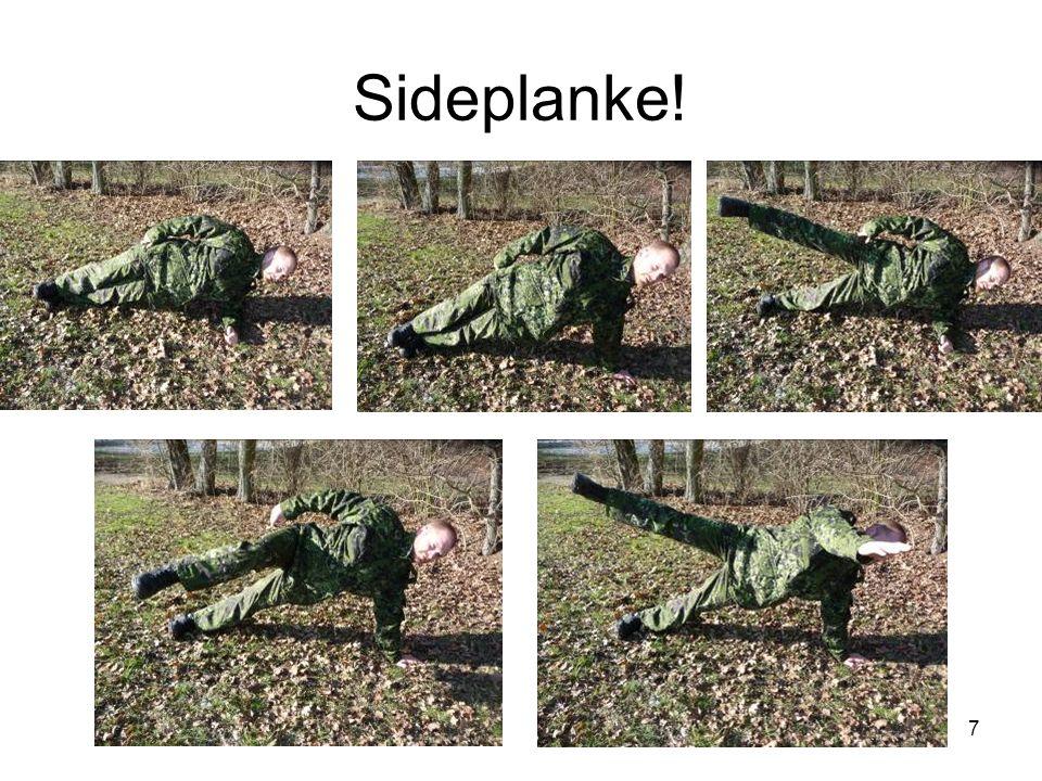 Core øvelse / Core exercise RM: Gentagelser: Sæt: Muskelgrupper: Primær: Den lange lige rygstrækker (Erector spinae) Sædemusklen (Gluteus) Den lige bugmuskel (rectus abdominis) Indre & Ydre skrå bugmuskel (Obliquus Internus & externus abdominis) Den tværgående bugmuskel (Transversus abdominis) Variationer: 1.Øvelsen kan intensiveres ved at løfte det øverste ben op og ned.