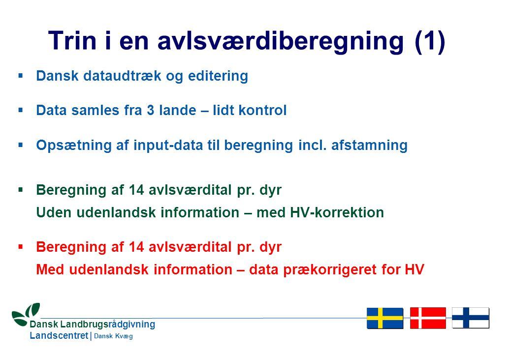 22 Dansk Landbrugsrådgivning Landscentret | Dansk Kvæg Trin i en avlsværdiberegning (1)  Dansk dataudtræk og editering  Data samles fra 3 lande – lidt kontrol  Opsætning af input-data til beregning incl.