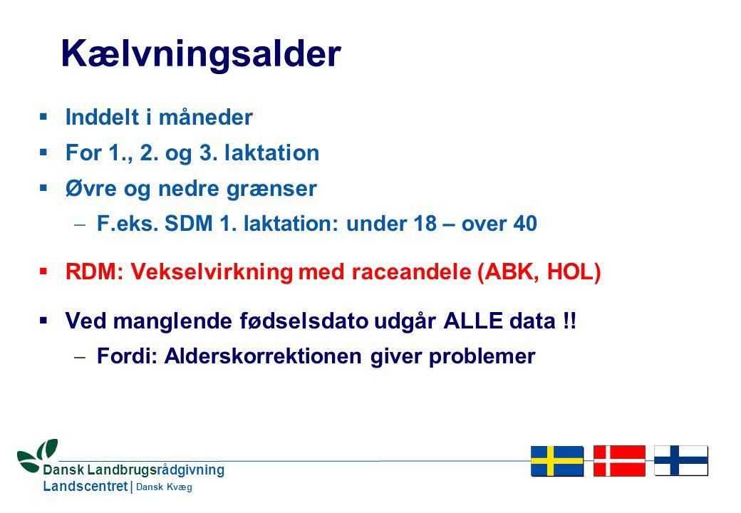 4 Dansk Landbrugsrådgivning Landscentret | Dansk Kvæg Kælvningsalder  Inddelt i måneder  For 1., 2.