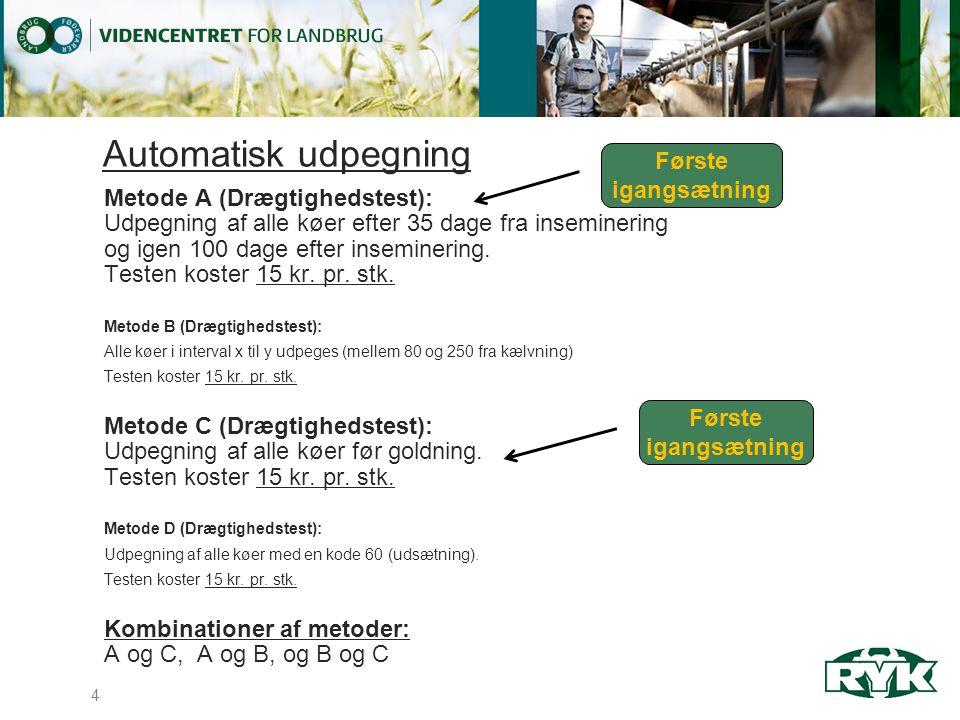 Automatisk udpegning Metode A (Drægtighedstest): Udpegning af alle køer efter 35 dage fra inseminering og igen 100 dage efter inseminering.