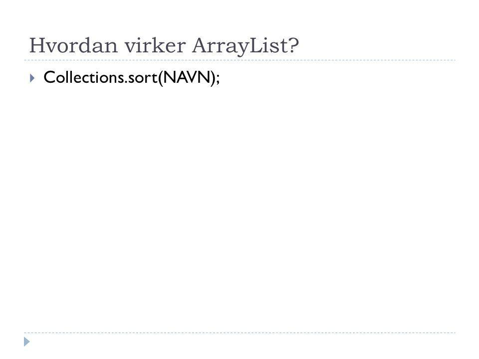 Hvordan virker ArrayList  Collections.sort(NAVN);