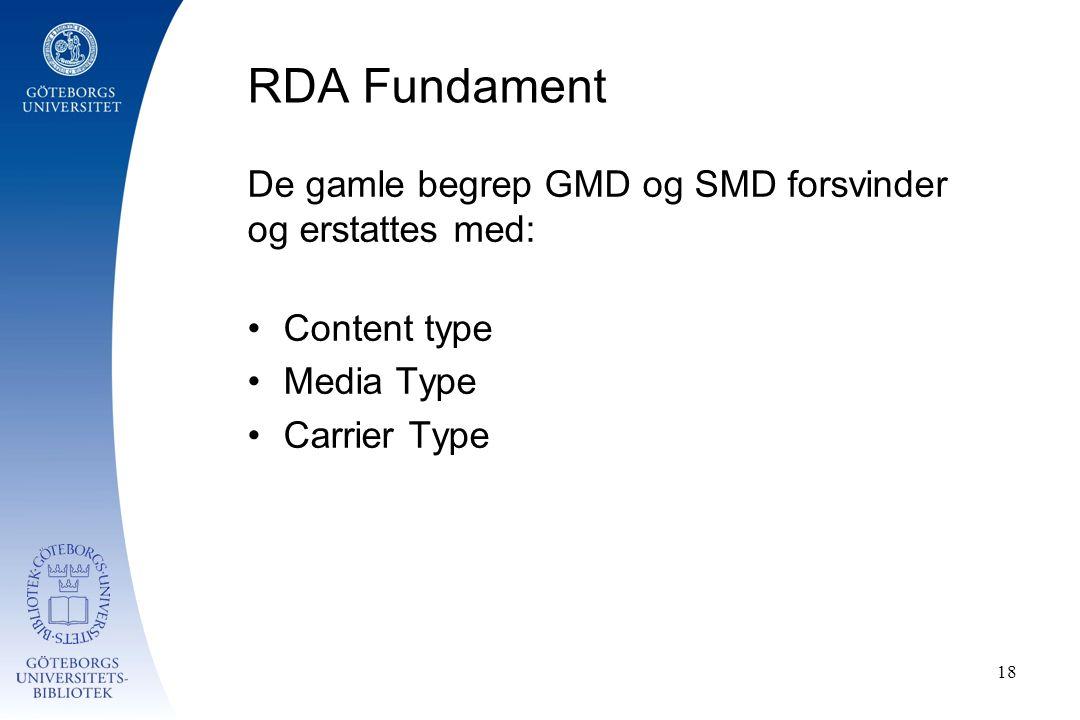 RDA Fundament De gamle begrep GMD og SMD forsvinder og erstattes med: Content type Media Type Carrier Type 18