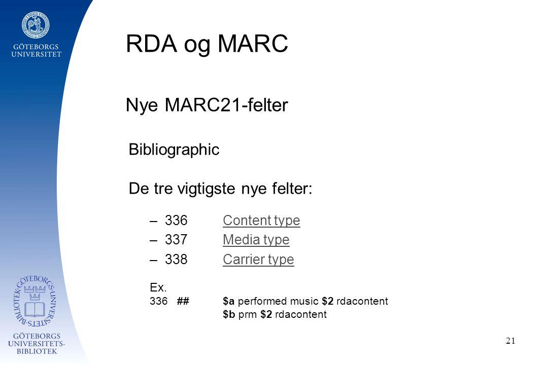 RDA og MARC Nye MARC21-felter Bibliographic De tre vigtigste nye felter: –336Content typeContent type –337Media typeMedia type –338Carrier typeCarrier type Ex.